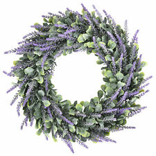 Artificial Silk Flower Lavender Fake Wreath Nature Purple Plant Home Wall Decor