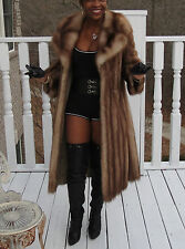 Full length designer Genuine Stone Marten Sable Fur coat  stroller S-M 2-8