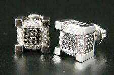 Ice Cube Block Mens Black Diamond Stud Earrings 9 Mm