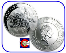 2011 Fiji Taku $10 Hawksbill Turtle 5 oz Silver Coin in airtite