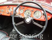 FOR AUSTIN A40 DEVON 1947-1952 BLACK LEATHER STEERING WHEEL COVER BEST QUALITY