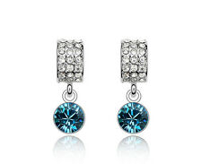Diamante Shine Silver Crystal Blue and Rhinestones Drop Studs Earrings E545