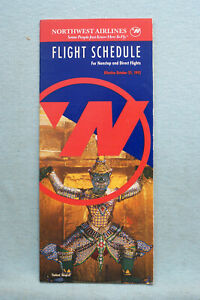 Northwest Airlines Timetable - Oct 25, 1992