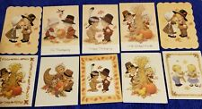 10 Assorted Ruth Morehead THANKSGIVING Greeting Cards with CUTE  Designs Lot B