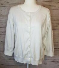 Talbots size XL white cotton long sleeve cardigan soft lagenlook