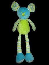 Doudou Souris verte bleue rayée jaune Maxita Alinéa 43 cm longues jambes