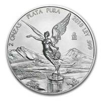 LIBERTAD - MEXICO - 2018 2 oz Silver Brilliant Uncirculated Coin  BU