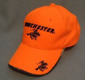 WINCHESTER RIFLES Hunting Hat Cap - Hi Vis Orange & Camo, Adjustable Snapback