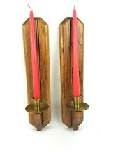 Couple Pair Two(2) Wooden Brass Candle Stick Holder Decor RED CANDLES INCLUDED