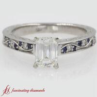 1 Carat Emerald Cut Diamond & Sapphire Gemstone Antique Filigree Engagement Ring