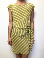 MARCS stripe silk tie waist dress sz 8 cap sleeve
