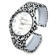 White Leopard Large Dial Women's Metal Bangle Cuff Watch