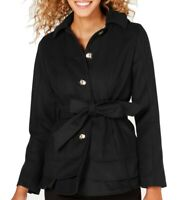 Celebrity Pink Womens Peacoat Solid Black Size Medium M Belted Tiered $119 024
