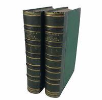 Antique 1858 Book Set Cyclopedia Of English Literature Green Quarter Leather 2Vs