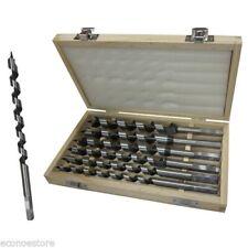 """6pc 9"""" Auger Bit Set Wood Drill Bits w/ wooden case"""