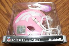RIDDELL MINI Football Helmet BRONCOS Pink Breast Cancer Awareness  New in Box