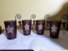 Set of 4 Glass Star Christmas Votive Holders ~Bronze ~ Glitter ~ Ornament Unused