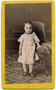 CDV Catania Sicily Little girl standing Original photo Pellicciari 1878 S1103