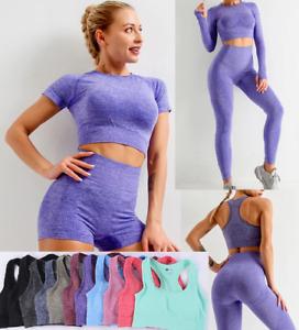 Woman 5 PCS Seamless Yoga Gym Set Fitness Running Leggings Shorts Sports Bra Top