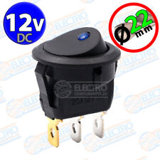 Interruptor ON OFF con LED 12v AZUL 22mm 16A redondo SPST coche car luz SPST