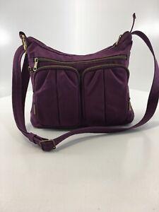 Travelon Women Anti-theft Nylon Multi Pocket Crossbody Purple Large Preowned=