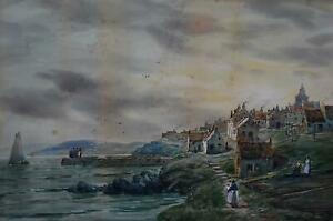 PAIR Fishing Ports Scottish Highlands Watercolour John Hamilton Glass c1880