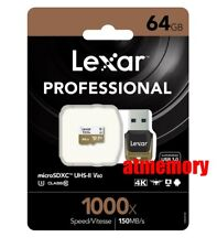 Lexar 64GB 64G 1000x Micro SD SDXC 150MB/s Class10 UHS-II U3 USB3.0 Reader GoPro
