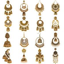 Vintage Women Gold Silver Dangle Hollow Geometric Ethnic Earrings Indian Jewelry