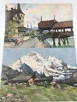 2 Marc Nicolas Markovitch Lithograph Water Color Lucerne Jungfrau Switzerland