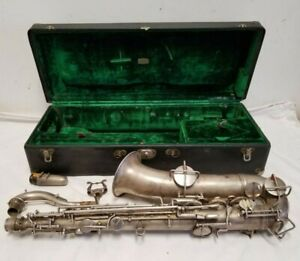 1940 Frank Holton Nickel Plated Saxophone, Mouthpiece, Lyre, Case Elkhorn WI
