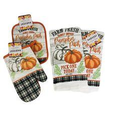 Fall Farmhouse Kitchen  Dish Towels Potholder Oven Mitt Autumn Pumpkin Patch New