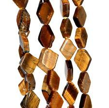 "8X6-15X9MM COGNAC TIGER EYE GEMSTONE YELLOW DIAMOND PRISM NUGGET LOOSE BEADS 14"""