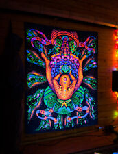 "BLACKLIGHT TAPESTRY ""FacePlace""  UV psychedelic backdrop, glow trippy trance art"
