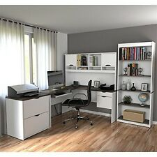 Bestar 92852-52 Innova L-Shaped Desk With Accessories In White And Antigua  NEW