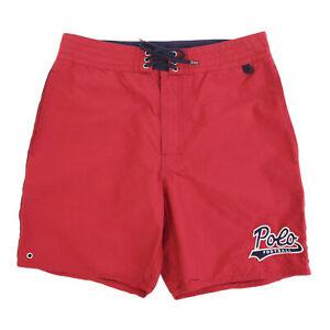 Polo Ralph Lauren Men's Swimsuit Swim Shorts with cursive POLO - Red - Size: 34