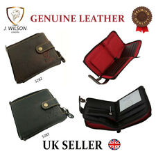 Designer J Wilson Genuine Mens Real Quality Leather Wallet Zipper Note Purse Box