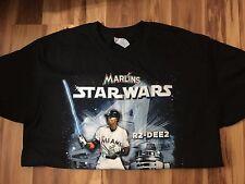 MIAMI MARLINS STAR WARS BLACK T SHIRT  L R2-DEE2 DEE GORDON BASEBALL MLB R2D2