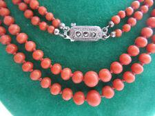 Edle Antike 2-Reihige Echte Lachskorallen Kette Halskette Collier 57cm Lang 24g