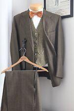 VTG Wool Tweed 3 Piece Suit 42S 35x28 Brown Reverse Houndstooth Vest Coat Pants