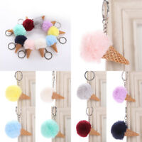 Ice Cream Fur Ball Pompom Cell Phone Car Bag Pendant Key Rings Jewelry Keychain