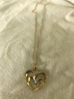 10k Heart yellow gold and white gold diamond Pendant Necklace double heart