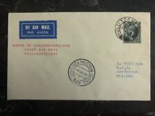 1934 Hull England First Flight Cover to Amsterdam Holland Klm Airways Ffc