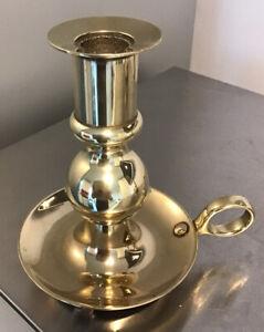 STUNNING THICK SOLID Brass Wee Willie Winkie Chamberstick Candleholder