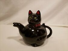 Vintage Black Cat Teapot, Green Eyes & Red Bow, No Markings, Paint Wear