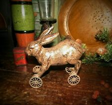 Primitive Antique Vtg Pull Toy Style Country Farm Easter Bunny Rabbit on WHEELS