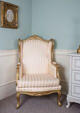 French Wingback Queen Ann Arm Gold Stripe Shabby Chic Bedroom Hallway Chair