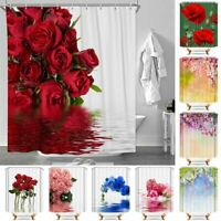 Flowers Print Polyester Waterproof Bath Curtains Shower Curtains With 12 Hooks