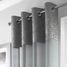 Metallic Crushed Voile Net Ring Top Curtain Panel White Silver Grey Cream Orange