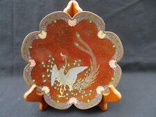 Antique Japanese Cloisonne Phoenix Bird Decorated Plated Dish Enamel
