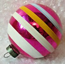 """VINTAGE ANTIQUE 3.5"""" CHRISTMAS ORNAMENT CANDY PINK STRIPES ROUND"""